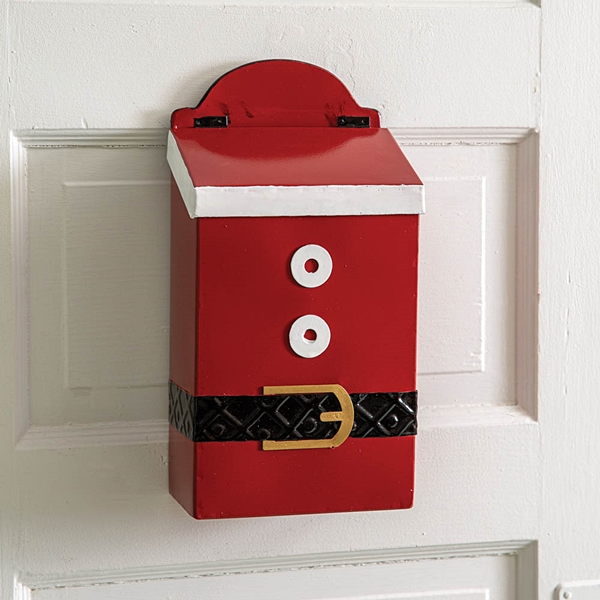 CTW Home Collection Santa Suit Design Enameled-Metal Hanging Mailbox