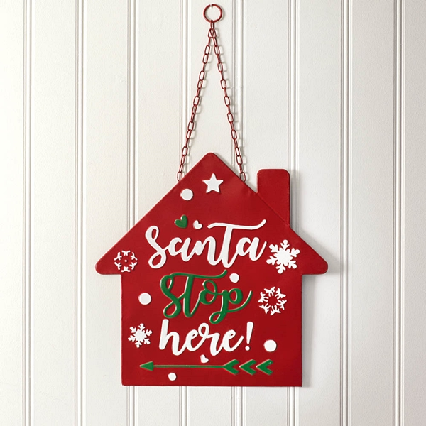 CTW Home Collection Santa Stop Here Enameled-Metal Hanging Wall Sign