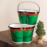 CTW Home Collection Set of 2 Holiday Elf Pants Enameled-Metal Buckets