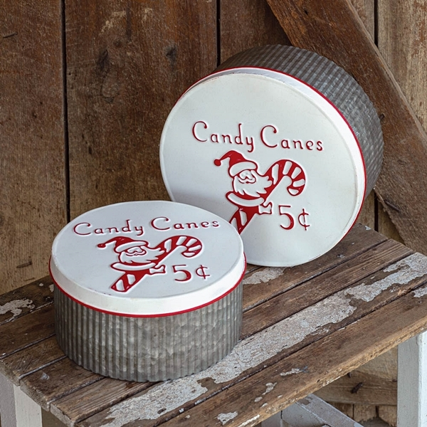 CTW Home Collection Set of Two Candy Canes Design Metal Storage Rounds