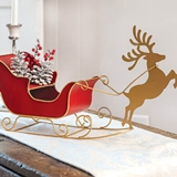 CTW Home Collection Tabletop Metal Reindeer and Sleigh in Gold and Red