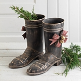 CTW Home Collection Set of Two Metal Santa Boots with Bows and Bells