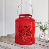 CTW Home Collection Merry Christmas Red Metal Container/Candle Holder