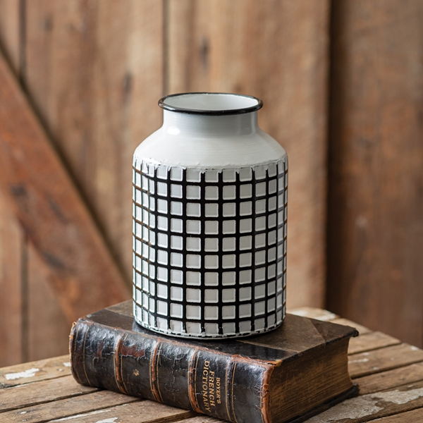 CTW Home Collection White-Enameled-Metal Wide Lattice Pattern Vase