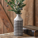 CTW Home Collection White-Enameled-Metal Skinny Lattice Pattern Vase