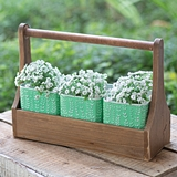 CTW Home Collection Wooden Carrier with 3 Mint-Green Tin Containers