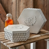 CTW Home Collection Set of Two Hexagon-Shaped Enameled-Metal Bee Boxes