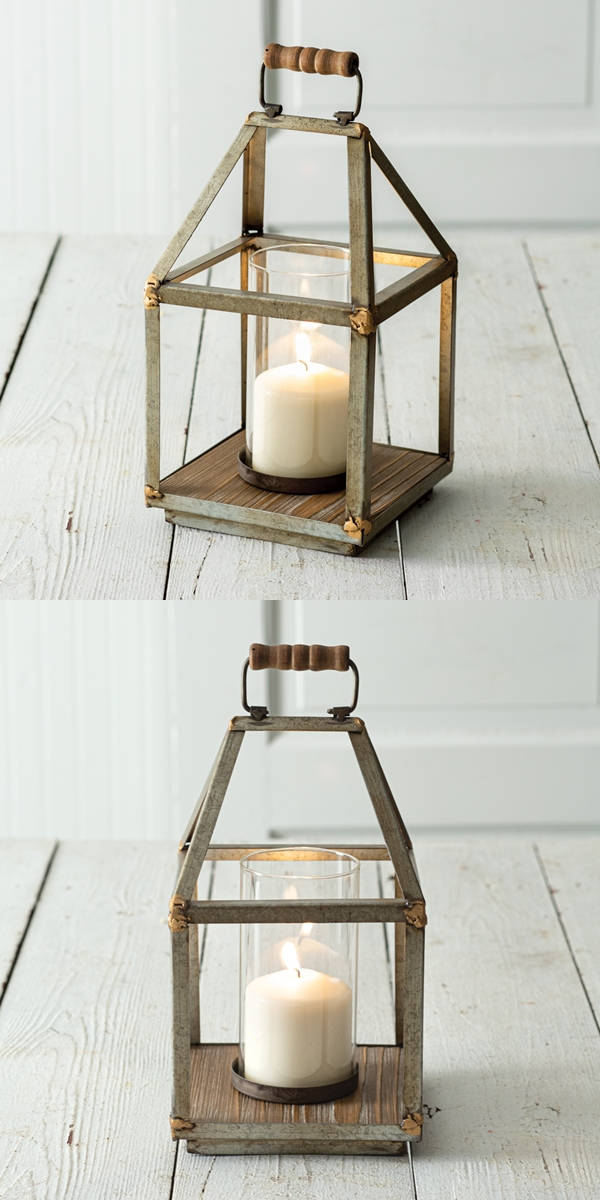 CTW Home Collection Mixed Metal & Glass Chimney Lantern w/ Wood Handle
