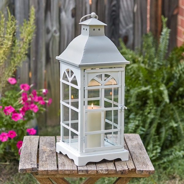 CTW Home Collection White-Finish-Metal 'Palladian' Window Lantern