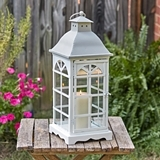CTW Home Collection White-Finish-Metal 'Palladian' Window Lantern