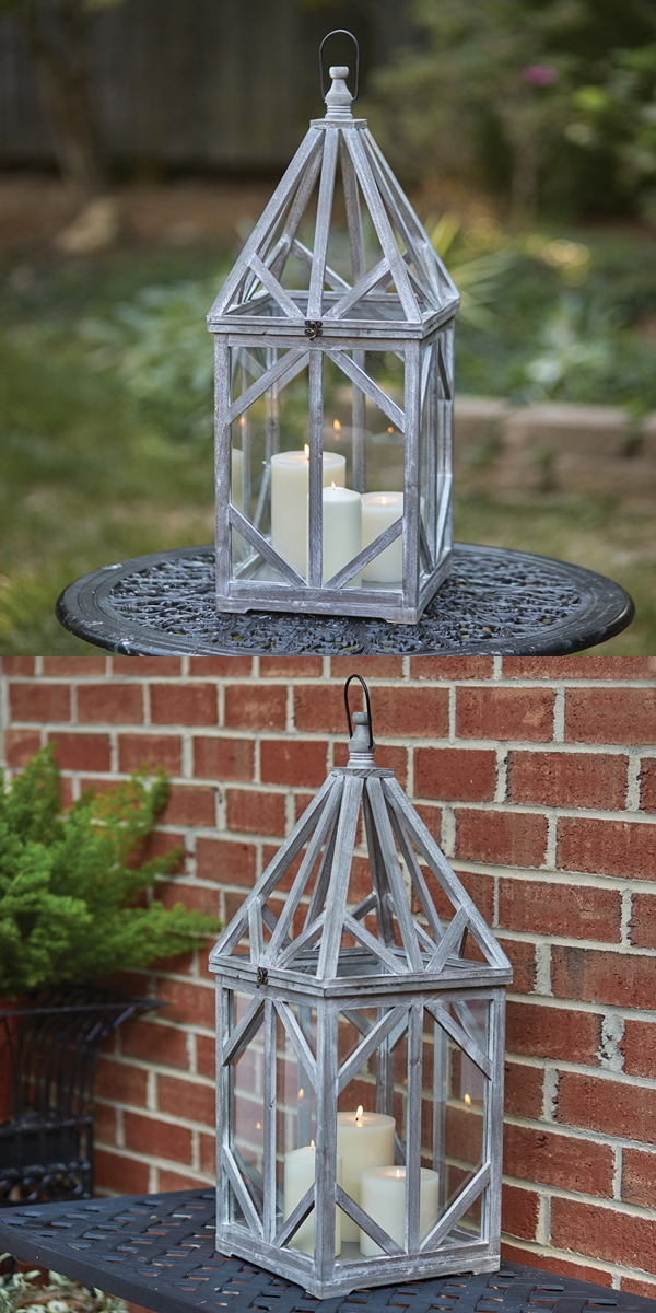 CTW Home Collection Driftwood and Glass Lantern with Hanging Loop