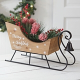 CTW Home Collection Tabletop Wooden 'Merry Christmas' Sleigh with Bell