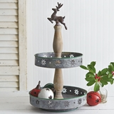 CTW Home Collection Two-Tiered Metal-and-Wood Christmas Tray