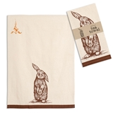 CTW Home Collection Woodcut Bunny Design Tea Towels (Box of 4)