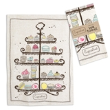 CTW Home Collection Cupcakes and Macarons Motif Tea Towels (Box of 4)