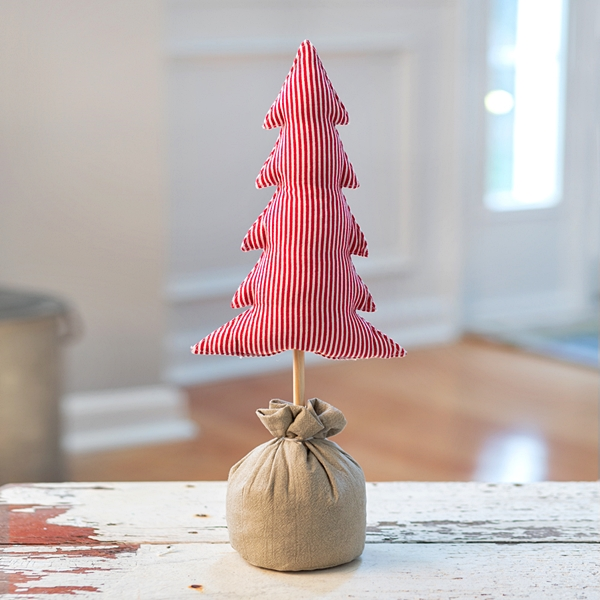 CTW Home Collection Adorable Red-Striped Stuffed Fabric Christmas Tree
