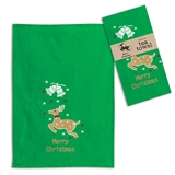 CTW Home Collection Merry Christmas Reindeer Tea Towels (Box of 4)