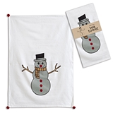 CTW Home Collection Smiling Snowman Design Tea Towels (Box of 4)