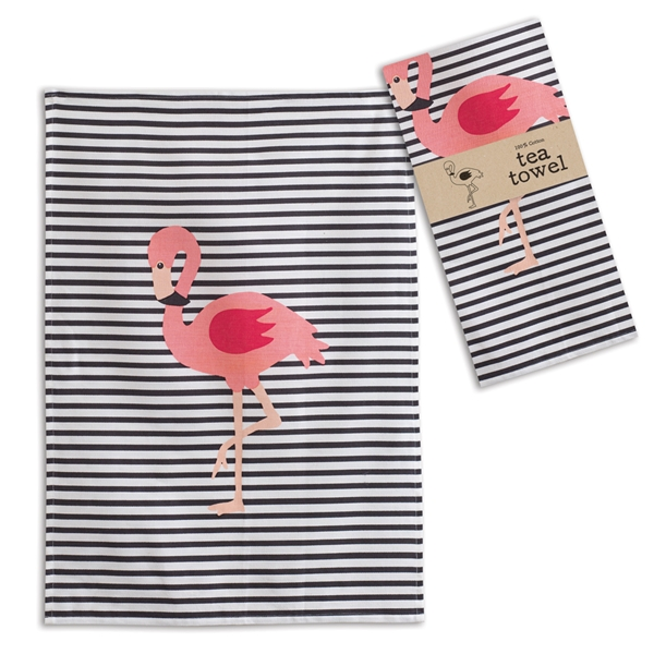 CTW Home Collection Flamingo Design Navy-Striped Tea Towels (Box of 4)