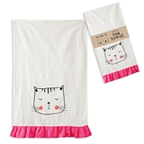CTW Home Collection Meow Kitty Design Tea Towels w/ Ruffle (Box of 4)