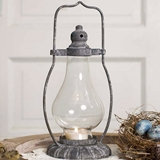 CTW Home Collection Antiqued-Metal Monroe Tea Light Lantern w/ Chimney