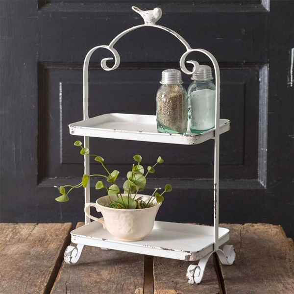 CTW Home Collection Antiqued-White-Metal Two-Tier Songird Caddy