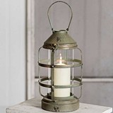 CTW Home Collection Ribbed Pillar Candle Lantern with Glass Chimney
