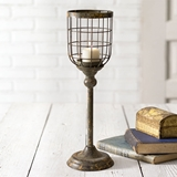 CTW Home Collection Large Distressed-Metal Candle Stand with Wire Cage
