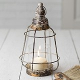 CTW Home Collection Distressed-Metal Long Beach Lantern with Chimney