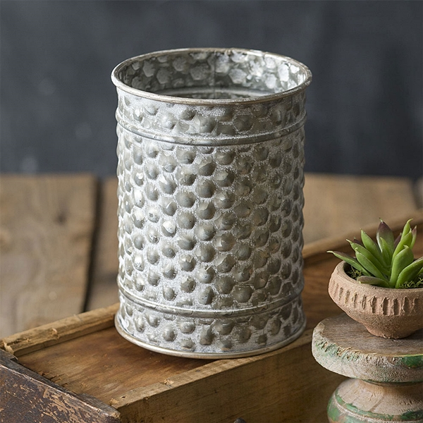 CTW Home Collection Smooth Pebbly-Textured Small Metal Canister/Vase