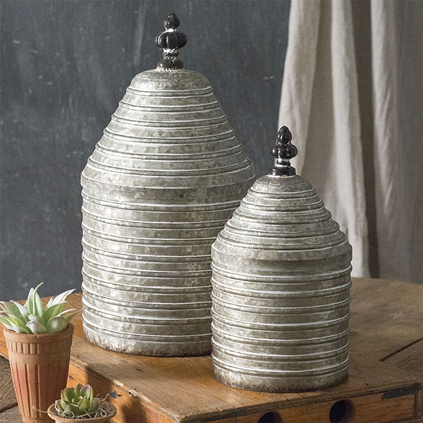 CTW Home Collection Set of Two Ribbed Metal Canisters with Lids