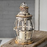 CTW Home Collection Antiqued-White Distressed-Metal Manteo Lantern