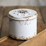 CTW Home Collection Antiqued-White-Metal Rustic Flower Round Container