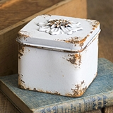 CTW Home Collection Antiqued-White Rustic Flower Square Container