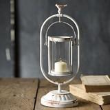 CTW Home Collection Antiqued White-Painted Metal 'Edenton' Lantern