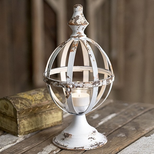 CTW Home Collection Antiqued White-Painted Metal Sphere Lantern