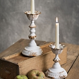 CTW Home Collection Two Antiqued-White-Metal 'Dapheny' Tapered Candles