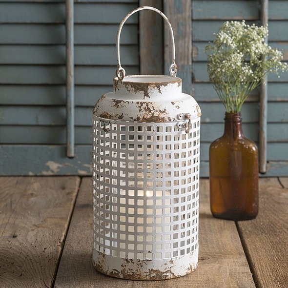 CTW Home Collection Antiqued White-Painted Metal Cupertino Lantern