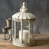 CTW Home Collection White Distressed-Metal Augustine Lantern