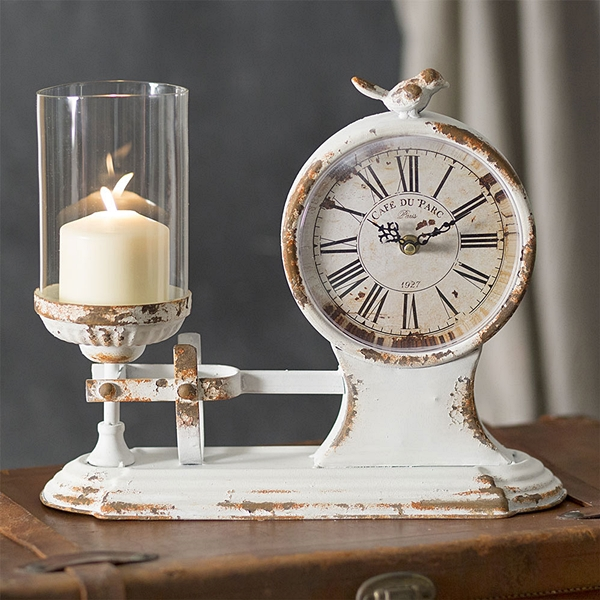 "CTW Home Collection ""Cafe du Parc"" Candle Holder and Clock"