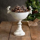 CTW Home Collection Antiqued-White-Metal Reindeer Urn Centerpiece