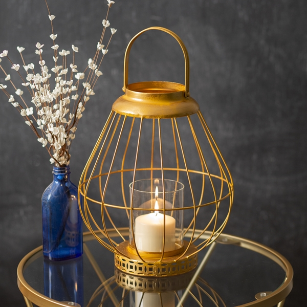 CTW Home Collection 'Juno' Gold-Metal Wire Lantern with Loop Handle