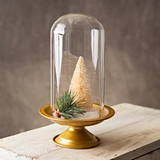 CTW Home Collection Gold Stand with Glass Cloche for Display