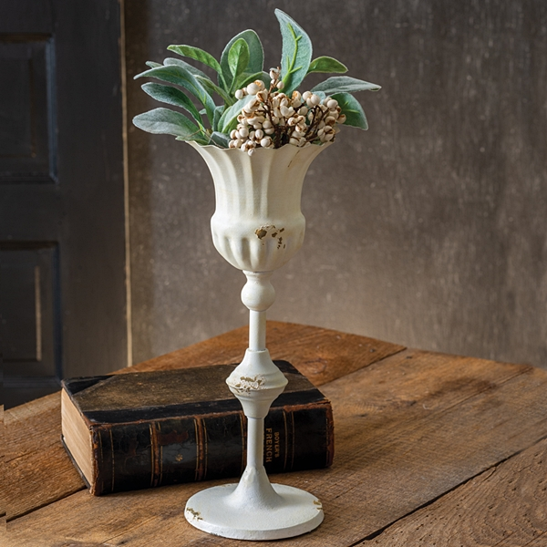 CTW Home Collection Antiqued-White Tall Scalloped Cup with Base