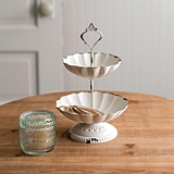 CTW Home Collection Antiqued-White-Metal Mini Two-Tier Scalloped Tray