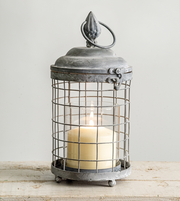 CTW Home Collection Antiqued-Metal Rounded Cage Lantern