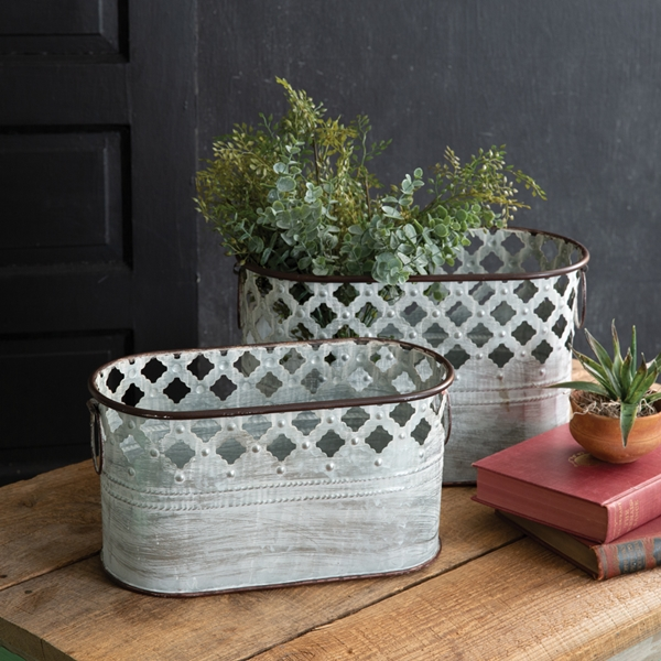 CTW Home Collection Set of Two 'Clarabelle' Perforated Metal Tins