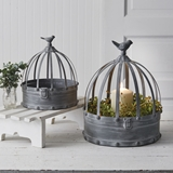 CTW Home Collection Set of Two Metal Birdcage Cloches w/ Bird Toppers