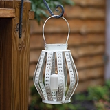 CTW Home Collection 'Evelyn' Antiqued-White-Metal Bulb-Shaped Lantern