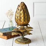 CTW Home Collection Gold-Finish Metal Artichoke Finial Statue